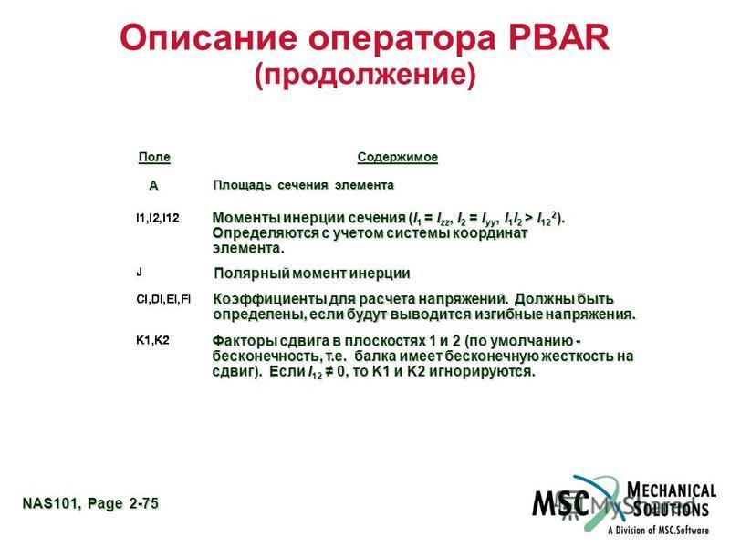 NAS101, Page 2-75 Описание оператора PBAR (продолжение) Field Contents Поле Содержимое А Площадь сечения элемента Моменты инерции сечения (I 1 = I zz, I 2 = I yy, I 1 I 2 > I 12 2 ). Определяются с учетом системы координат элемента. Полярный момент и