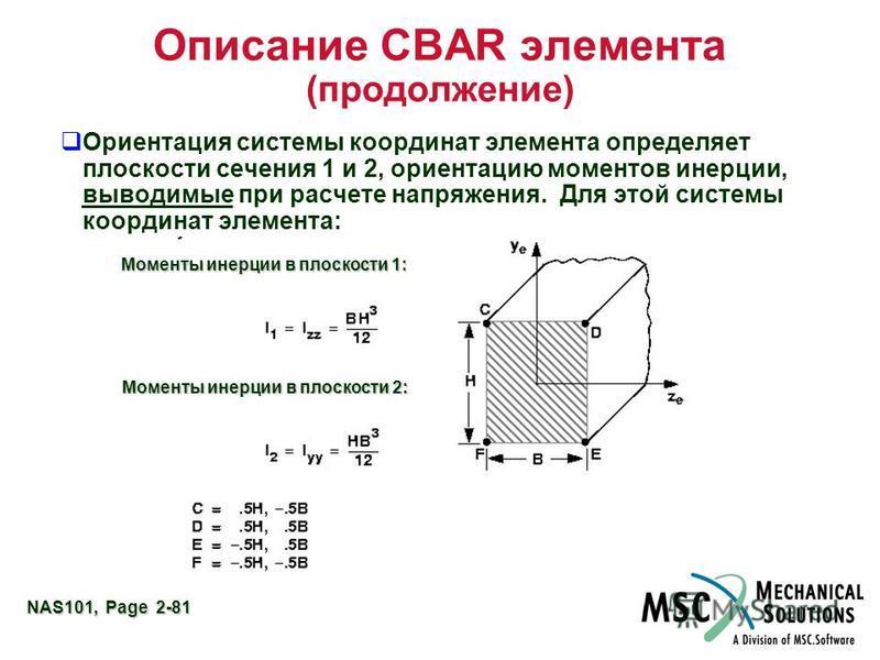 NAS101, Page 2-81 Описание CBAR элемента (продолжение) Ориентация системы координат элемента определяет плоскости сечения 1 и 2, ориентацию моментов инерции, выводимые при расчете напряжения. Для этой системы координат элемента: Моменты инерции в пло