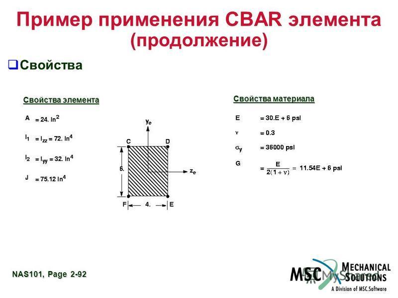 NAS101, Page 2-92 Пример применения CBAR элемента (продолжение) Свойства Свойства элемента Свойства материала