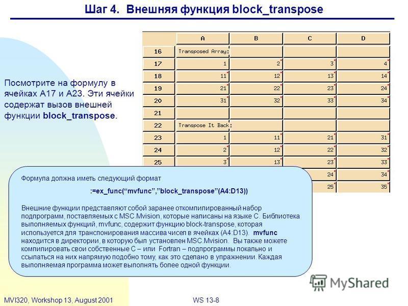 WS 13-8MVI320, Workshop 13, August 2001 Шаг 4. Внешняя функция block_transpose Посмотрите на формулу в ячейках A17 и A23. Эти ячейки содержат вызов внешней функции block_transpose. Формула должна иметь следующий формат Внешние функции представляют со