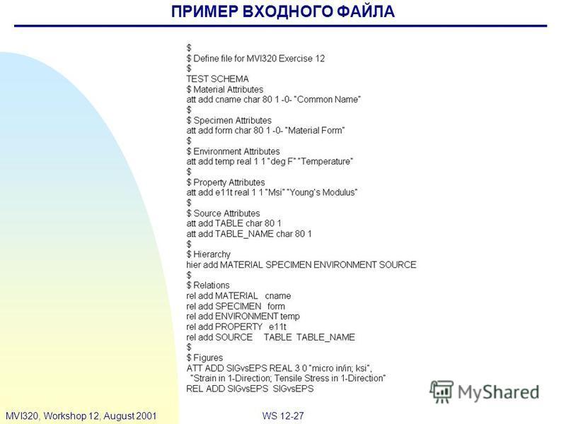 WS 12-27MVI320, Workshop 12, August 2001 ПРИМЕР ВХОДНОГО ФАЙЛА