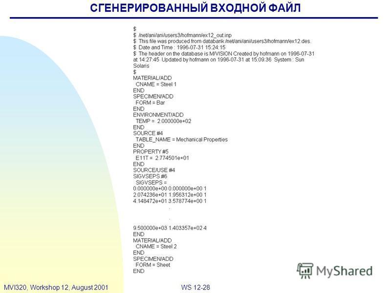 WS 12-28MVI320, Workshop 12, August 2001 СГЕНЕРИРОВАННЫЙ ВХОДНОЙ ФАЙЛ