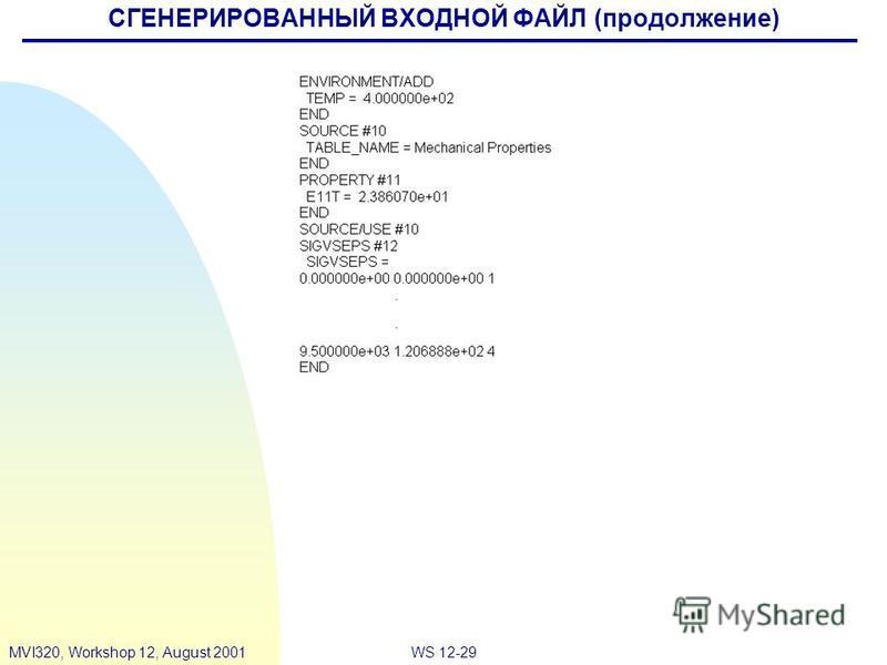 WS 12-29MVI320, Workshop 12, August 2001 СГЕНЕРИРОВАННЫЙ ВХОДНОЙ ФАЙЛ (продолжение)