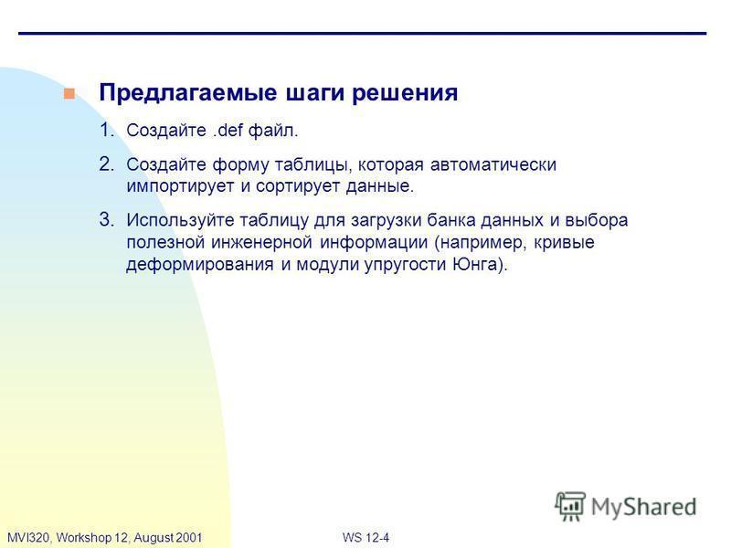 WS 12-4MVI320, Workshop 12, August 2001 n Предлагаемые шаги решения 1. Создайте.def файл. 2. Создайте форму таблицы, которая автоматически импортирует и сортирует данные. 3. Используйте таблицу для загрузки банка данных и выбора полезной инженерной и