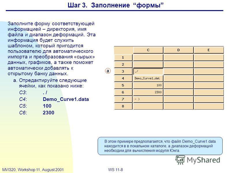 WS 11-8MVI320, Workshop 11, August 2001 Шаг 3. Заполнение формы Заполните форму соответствующей информацией – директория, имя файла и диапазон деформаций. Эта информация будет служить шаблоном, который пригодится пользователю для автоматического импо