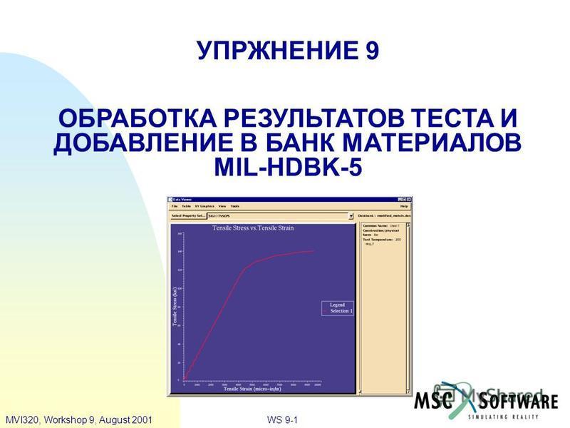 WS 9-1MVI320, Workshop 9, August 2001 УПРЖНЕНИЕ 9 ОБРАБОТКА РЕЗУЛЬТАТОВ ТЕСТА И ДОБАВЛЕНИЕ В БАНК МАТЕРИАЛОВ MIL-HDBK-5