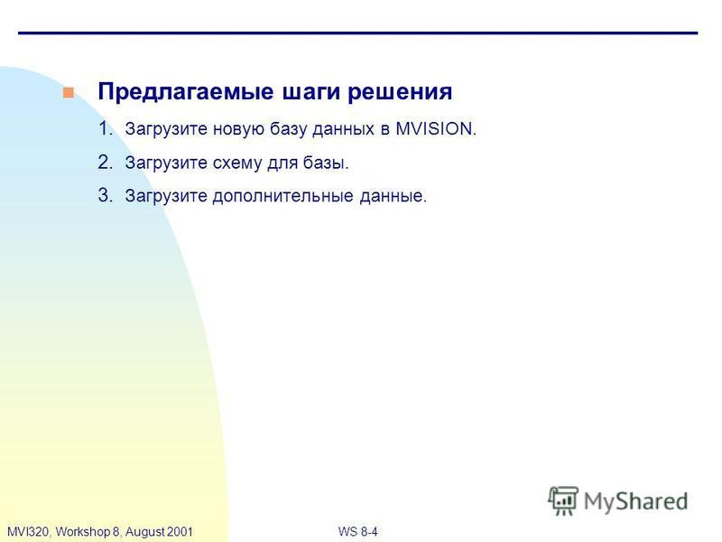 WS 8-4MVI320, Workshop 8, August 2001 n Предлагаемые шаги решения 1. Загрузите новую базу данных в MVISION. 2. Загрузите схему для базы. 3. Загрузите дополнительные данные.