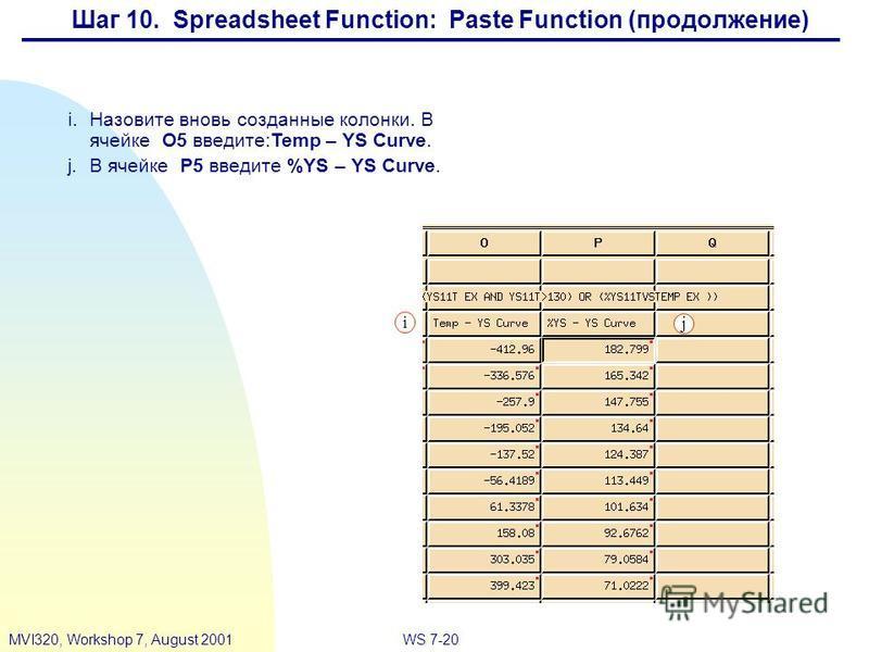 WS 7-20MVI320, Workshop 7, August 2001 i.Назовите вновь созданные колонки. В ячейке O5 введите:Temp – YS Curve. j.В ячейке P5 введите %YS – YS Curve. i j Шаг 10. Spreadsheet Function: Paste Function (продолжение)