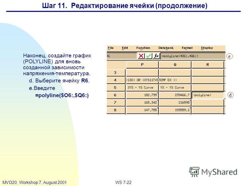 WS 7-22MVI320, Workshop 7, August 2001 Наконец, создайте график (POLYLINE) для вновь созданной зависимости напряжения-температура. d.Выберите ячейку R6. e.Введите =polyline($O6:,$Q6:) d e Шаг 11. Редактирование ячейки (продолжение)