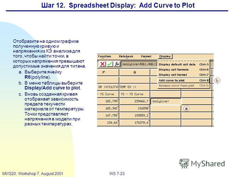 WS 7-23MVI320, Workshop 7, August 2001 Шаг 12. Spreadsheet Display: Add Curve to Plot Отобразите на одном графике полученную кривую и напряжения из КЭ анализа для того, чтобы найти точки, в которых напряжения превышают допустимые значения для титана.