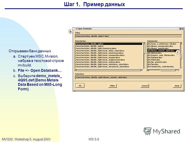 WS 5-5MVI320, Workshop 5, August 2001 Шаг 1. Пример данных c Открываем банк данных a.Стартуем MSC.Mvision, набрав в текстовой строке mvbuild. b.File => Open Databank… c.Выберите demo_metals_ 4Q95. def (Demo Metals Data Based on Mil5-Long Form). b