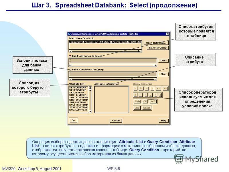 WS 5-8MVI320, Workshop 5, August 2001 Условия поиска для банка данных Список операторов используемых для определения условий поиска Описание атрибута Список, из которого берутся атрибуты Список атрибутов, которые появятся в таблице Операция выбора со