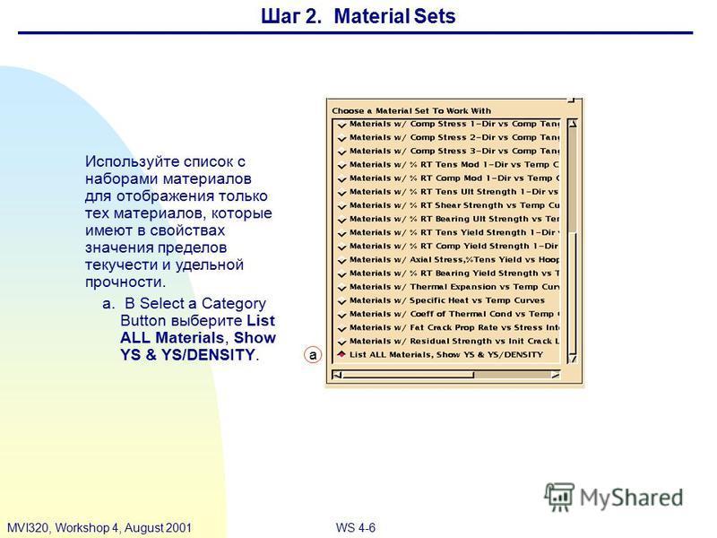 WS 4-6MVI320, Workshop 4, August 2001 Шаг 2. Material Sets Используйте список с наборами материалов для отображения только тех материалов, которые имеют в свойствах значения пределов текучести и удельной прочности. a. В Select a Category Button выбер