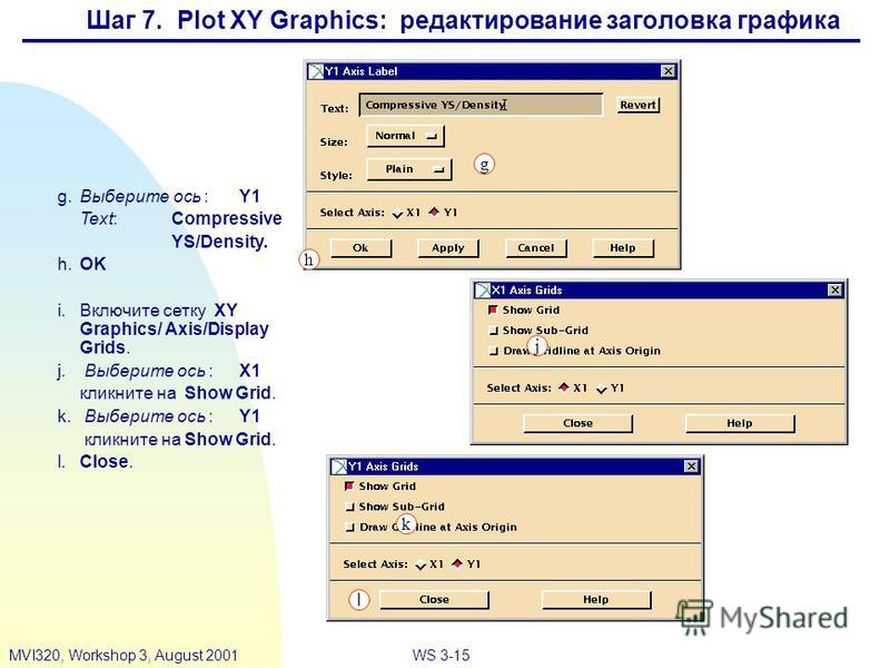 WS 3-15MVI320, Workshop 3, August 2001 g.Выберите ось :Y1 Text:Compressive YS/Density. h.OK i.Включите сетку XY Graphics/ Axis/Display Grids. j. Выберите ось :X1 кликните на Show Grid. k. Выберите ось :Y1 кликните на Show Grid. l.Close. j h g k l Шаг