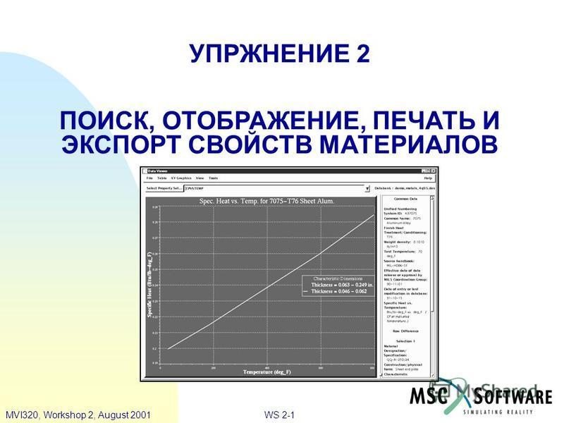 WS 2-1MVI320, Workshop 2, August 2001 УПРЖНЕНИЕ 2 ПОИСК, ОТОБРАЖЕНИЕ, ПЕЧАТЬ И ЭКСПОРТ СВОЙСТВ МАТЕРИАЛОВ