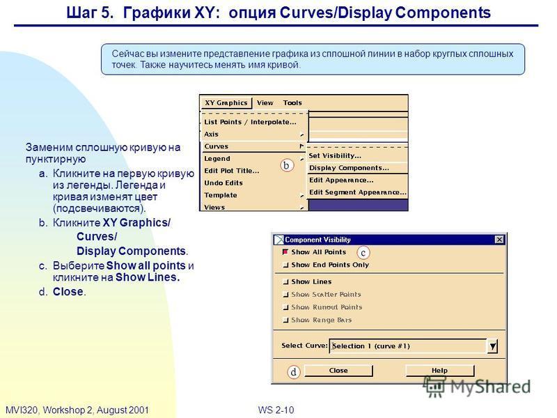 WS 2-10MVI320, Workshop 2, August 2001 Шаг 5. Графики XY: опция Curves/Display Components Заменим сплошную кривую на пунктирную a.Кликните на первую кривую из легенды. Легенда и кривая изменят цвет (подсвечиваются). b.Кликните XY Graphics/ Curves/ Di