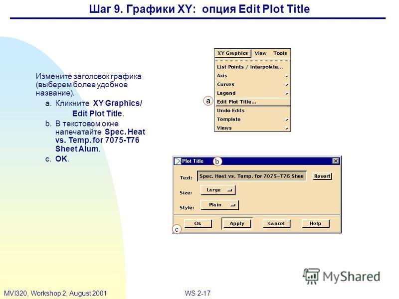 WS 2-17MVI320, Workshop 2, August 2001 Шаг 9. Графики XY: опция Edit Plot Title Измените заголовок графика (выберем более удобное название). a.Кликните XY Graphics/ Edit Plot Title. b.В текстовом окне напечатайте Spec. Heat vs. Temp. for 7075-T76 She