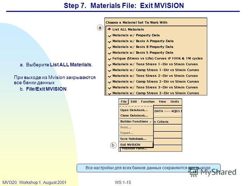 WS 1-15MVI320, Workshop 1, August 2001 Step 7. Materials File: Exit MVISION a.Выберите List ALL Materials. При выходе из Mvision закрываются все банки данных b.File/Exit MVISION. b a Все настройки для всех банков данных сохраняются при выходе.