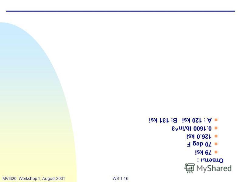 WS 1-16MVI320, Workshop 1, August 2001 Ответы : n 79 ksi n 70 deg F n 126.0 ksi n 0.1600 lb/in^3 n A : 120 ksiB: 131 ksi