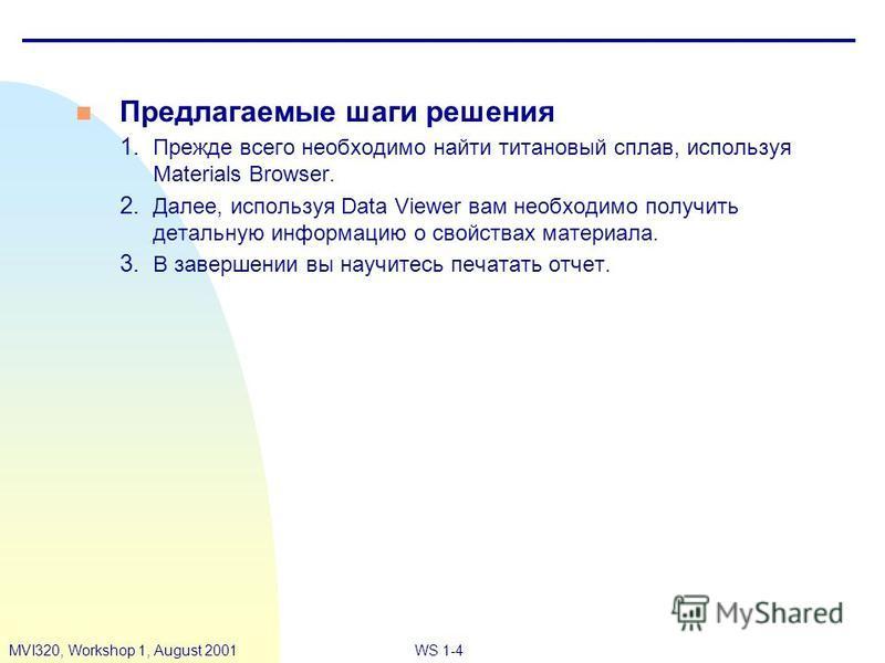 WS 1-4MVI320, Workshop 1, August 2001 n Предлагаемые шаги решения 1. Прежде всего необходимо найти титановый сплав, используя Materials Browser. 2. Далее, используя Data Viewer вам необходимо получить детальную информацию о свойствах материала. 3. В