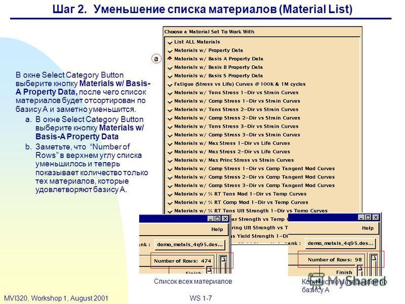 WS 1-7MVI320, Workshop 1, August 2001 Шаг 2. Уменьшение списка материалов (Material List) В окне Select Category Button выберите кнопку Materials w/ Basis- A Property Data, после чего список материалов будет отсортирован по базису А и заметно уменьши