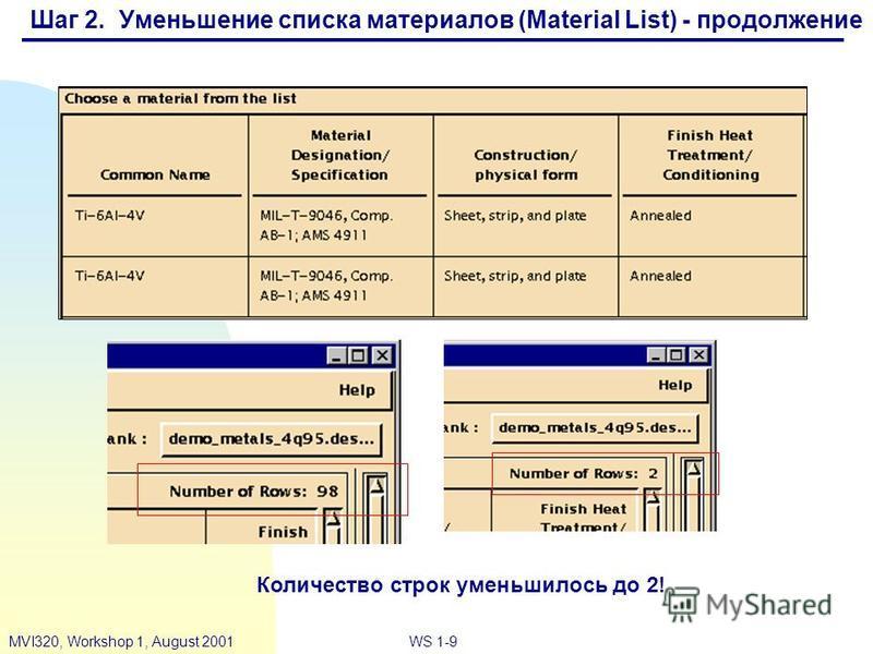 WS 1-9MVI320, Workshop 1, August 2001 Количество строк уменьшилось до 2! Шаг 2. Уменьшение списка материалов (Material List) - продолжение