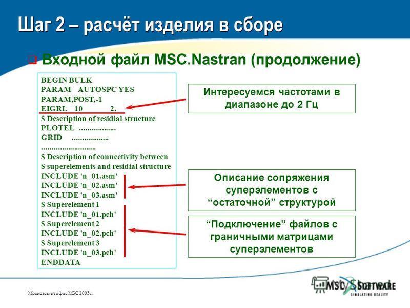 Московский офис MSC 2005 г. Шаг 2 – расчёт изделия в сборе Входной файл MSC.Nastran (продолжение) BEGIN BULK PARAM AUTOSPC YES PARAM,POST,-1 EIGRL 10 2. $ Description of residial structure PLOTEL.................. GRID................................
