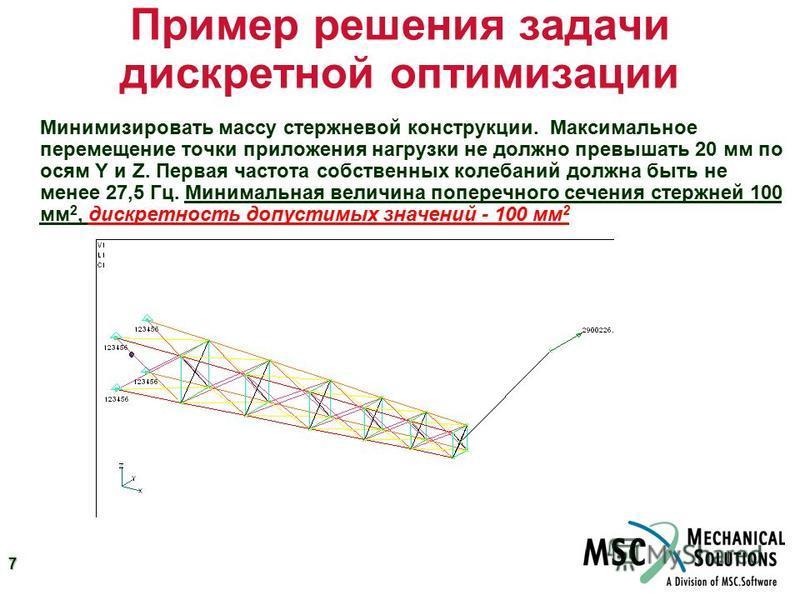7 Пример решения задачи дискретной оптимизации Минимизировать массу стержневой конструкции. Максимальное перемещение точки приложения нагрузки не должно превышать 20 мм по осям Y и Z. Первая частота собственных колебаний должна быть не менее 27,5 Гц.