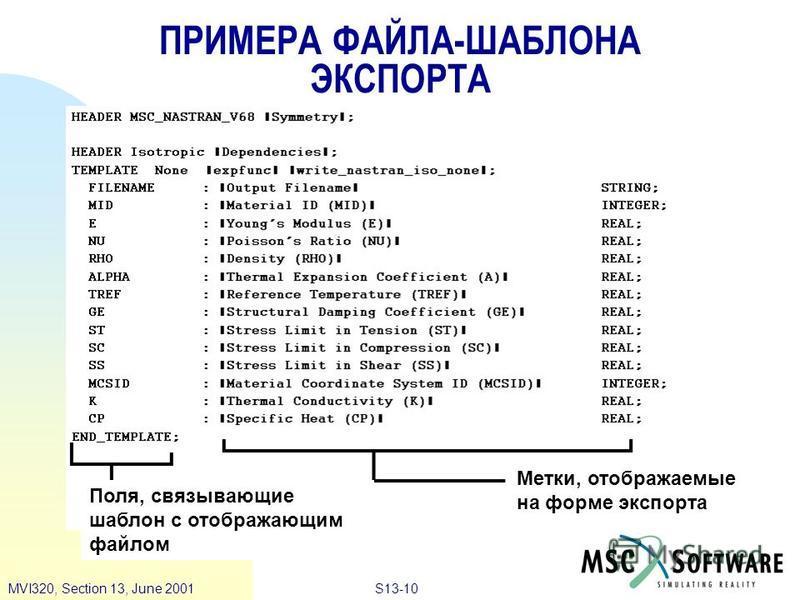 S13-10MVI320, Section 13, June 2001 ПРИМЕРА ФАЙЛА-ШАБЛОНА ЭКСПОРТА Метки, отображаемые на форме экспорта Поля, связывающие шаблон с отображающим файлом