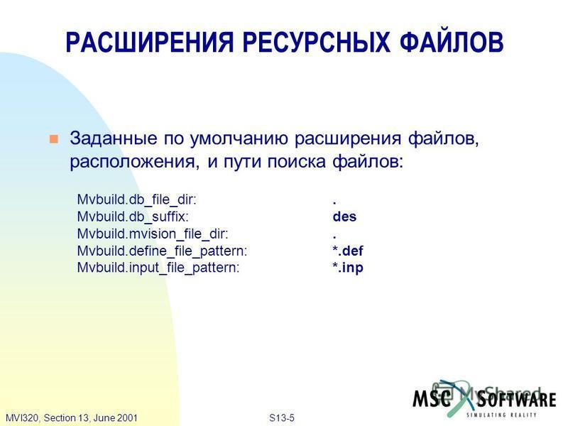 S13-5MVI320, Section 13, June 2001 Заданные по умолчанию расширения файлов, расположения, и пути поиска файлов: Mvbuild.db_file_dir:. Mvbuild.db_suffix:des Mvbuild.mvision_file_dir:. Mvbuild.define_file_pattern:*.def Mvbuild.input_file_pattern:*.inp