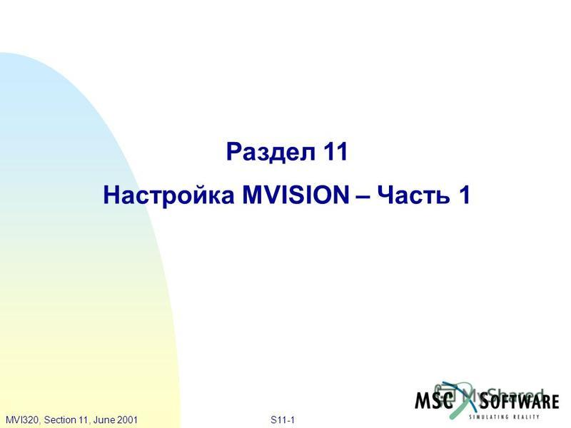 S11-1MVI320, Section 11, June 2001 Раздел 11 Настройка MVISION – Часть 1