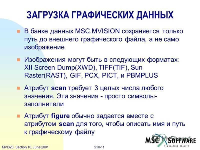 S10-11MVI320, Section 10, June 2001 В банке данных MSC.MVISION сохраняется только путь до внешнего графического файла, а не само изображение Изображения могут быть в следующих форматах: XII Screen Dump(XWD), TIFF(TIF), Sun Raster(RAST), GIF, PCX, PIC