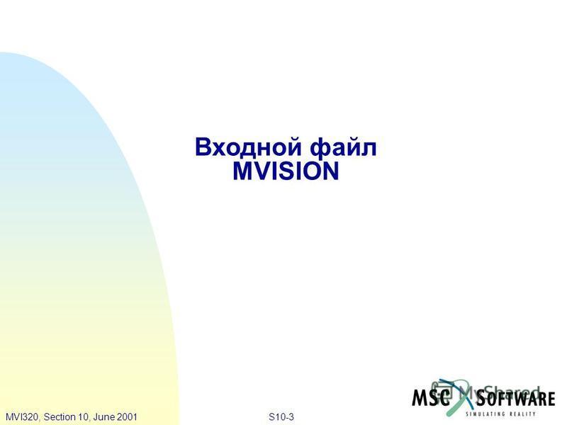 S10-3MVI320, Section 10, June 2001 Входной файл MVISION