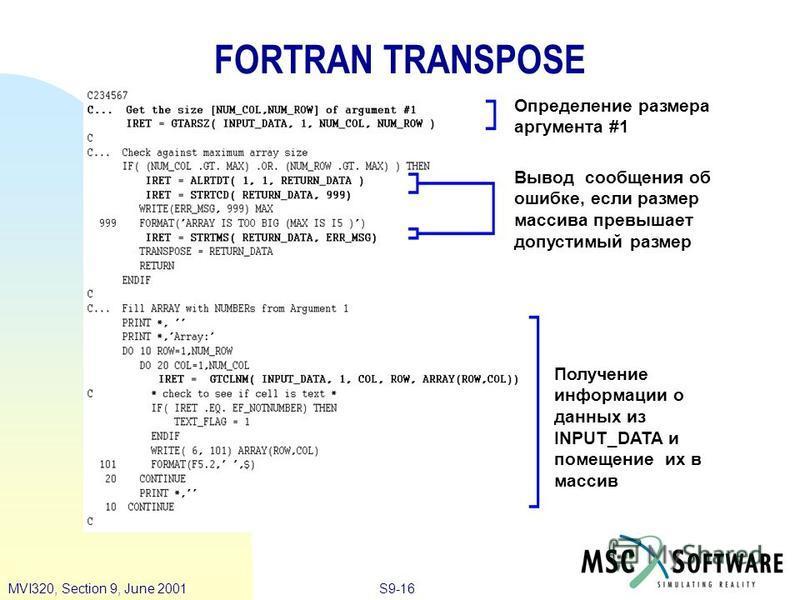 S9-16MVI320, Section 9, June 2001 FORTRAN TRANSPOSE Определение размера аргумента #1 Вывод сообщения об ошибке, если размер массива превышает допустимый размер Получение информации о данных из INPUT_DATA и помещение их в массив