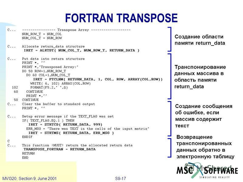 S9-17MVI320, Section 9, June 2001 FORTRAN TRANSPOSE Создание области памяти return_data Возвращение транспонированных данных обратно в электронную таблицу Создание сообщения об ошибке, если массив содержит текст Транспонирование данных массива в обла
