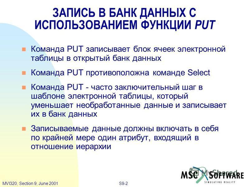 S9-2MVI320, Section 9, June 2001 Команда PUT записывает блок ячеек электронной таблицы в открытый банк данных Команда PUT противоположна команде Select Команда PUT - часто заключительный шаг в шаблоне электронной таблицы, который уменьшает необработа