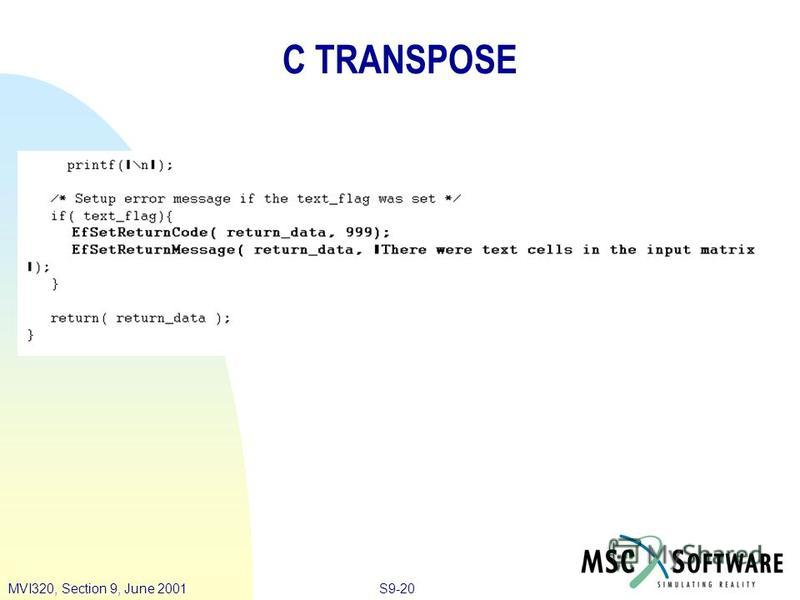 S9-20MVI320, Section 9, June 2001 C TRANSPOSE