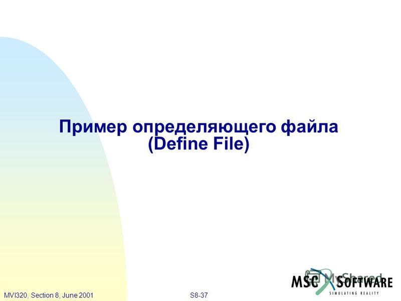 S8-37MVI320, Section 8, June 2001 Пример определяющего файла (Define File)