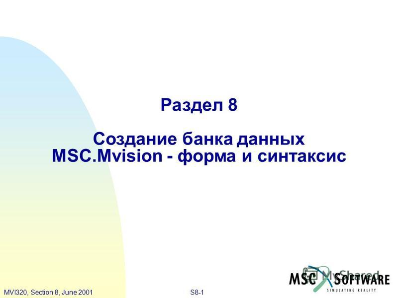 S8-1MVI320, Section 8, June 2001 Раздел 8 Создание банка данных MSC.Mvision - форма и синтаксис