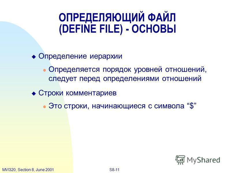 S8-11MVI320, Section 8, June 2001 Определение иерархии Определяется порядок уровней отношений, следует перед определениями отношений Строки комментариев Это строки, начинающиеся с символа $ ОПРЕДЕЛЯЮЩИЙ ФАЙЛ (DEFINE FILE) - ОСНОВЫ
