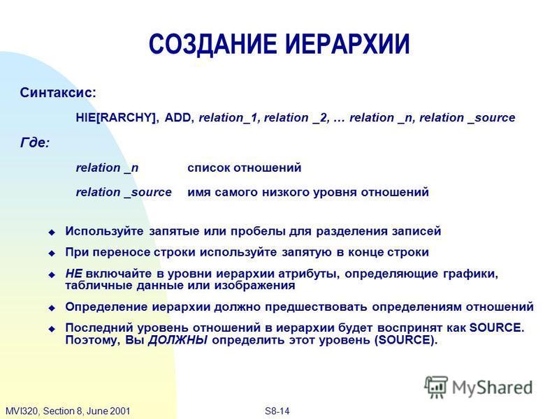 S8-14MVI320, Section 8, June 2001 СОЗДАНИЕ ИЕРАРХИИ Синтаксис: HIE[RARCHY], ADD, relation_1, relation _2, … relation _n, relation _source Где: relation _n список отношений relation _source имя самого низкого уровня отношений Используйте запятые или п