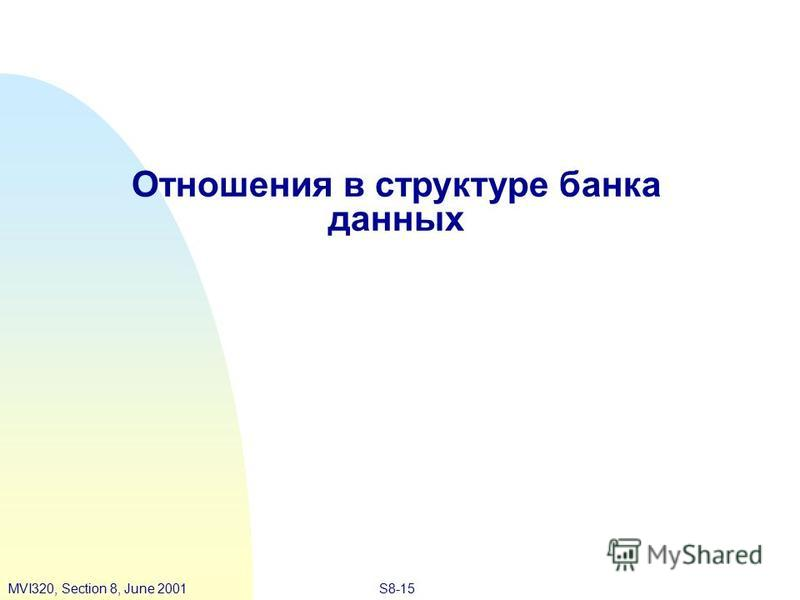 S8-15MVI320, Section 8, June 2001 Отношения в структуре банка данных