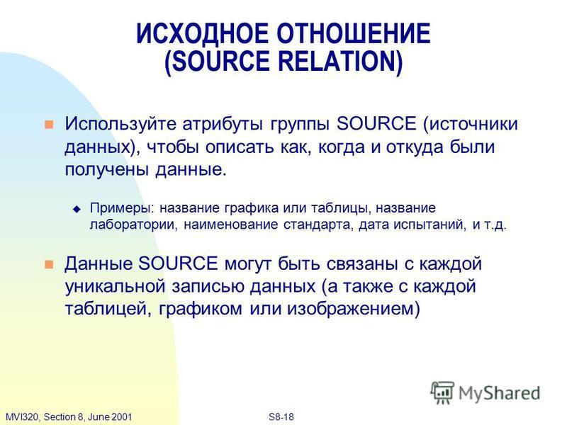 S8-18MVI320, Section 8, June 2001 ИСХОДНОЕ ОТНОШЕНИЕ (SOURCE RELATION) Используйте атрибуты группы SOURCE (источники данных), чтобы описать как, когда и откуда были получены данные. Примеры: название графика или таблицы, название лаборатории, наимено