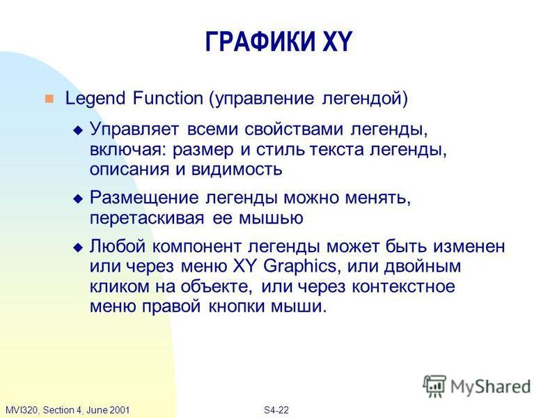 S4-22MVI320, Section 4, June 2001 ГРАФИКИ XY Legend Function (управление легендой) Управляет всеми свойствами легенды, включая: размер и стиль текста легенды, описания и видимость Размещение легенды можно менять, перетаскивая ее мышью Любой компонент