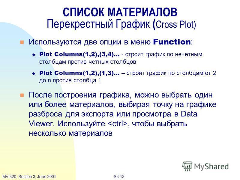 S3-13MVI320, Section 3, June 2001 СПИСОК МАТЕРИАЛОВ Перекрестный График ( Cross Plot) Используются две опции в меню Function : Plot Columns(1,2),(3,4)... - строит график по нечетным столбцам против четных столбцов Plot Columns(1,2),(1,3)... – строит