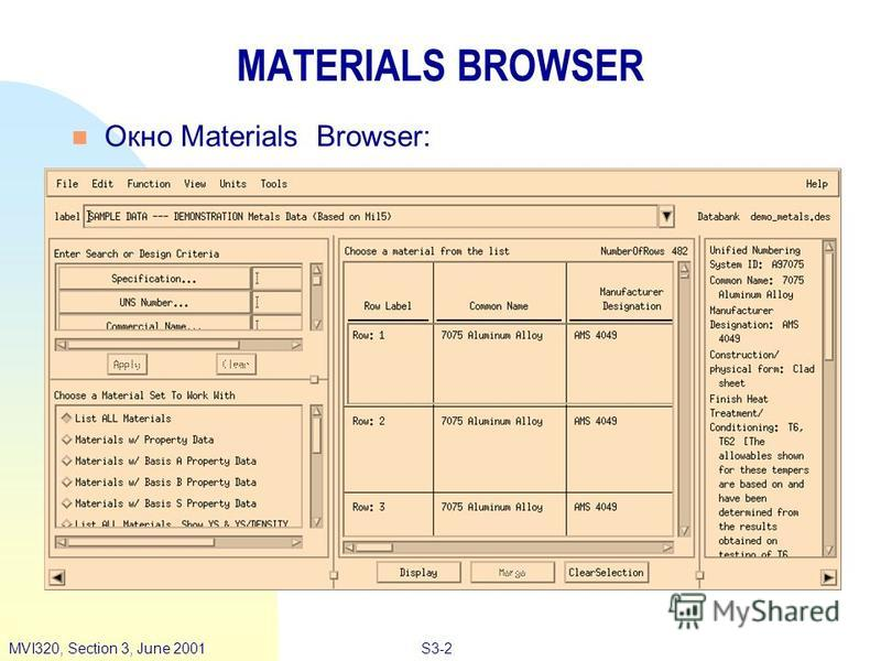 S3-2MVI320, Section 3, June 2001 MATERIALS BROWSER n Окно Materials Browser: