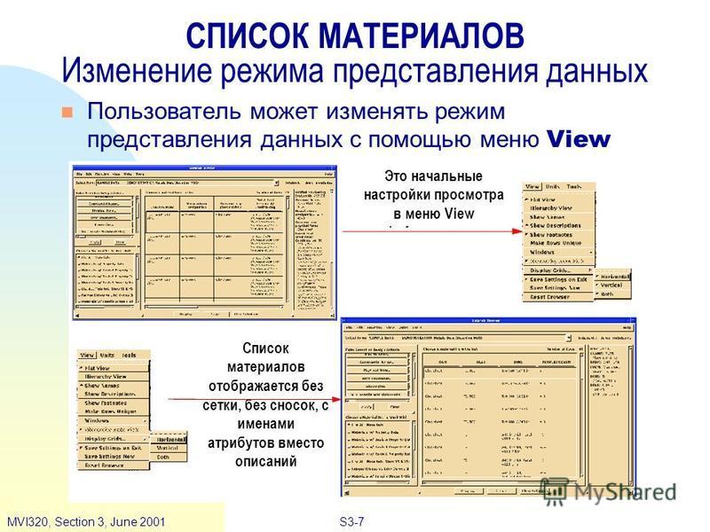 S3-7MVI320, Section 3, June 2001 СПИСОК МАТЕРИАЛОВ Изменение режима представления данных Пользователь может изменять режим представления данных с помощью меню View Это начальные настройки просмотра в меню View Список материалов отображается без сетки