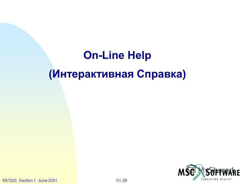 S1-29MVI320, Section 1, June 2001 On-Line Help (Интерактивная Справка)