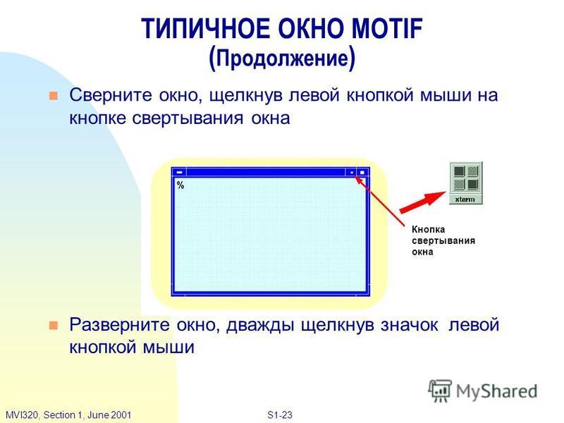 S1-23MVI320, Section 1, June 2001 ТИПИЧНОЕ ОКНО MOTIF ( Продолжение ) n Сверните окно, щелкнув левой кнопкой мыши на кнопке свертывания окна n Разверните окно, дважды щелкнув значок левой кнопкой мыши Кнопка свертывания окна