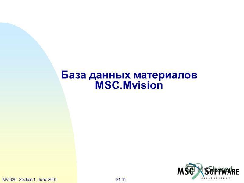 S1-11MVI320, Section 1, June 2001 База данных материалов MSC.Mvision